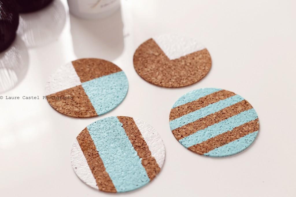 DIY Peinture sur liège customiser des dessous de plats