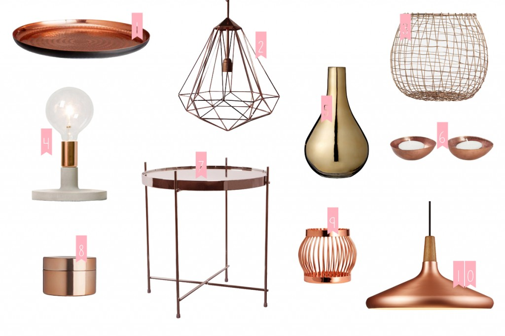 Décoration tendance cuivrée objets cuivre