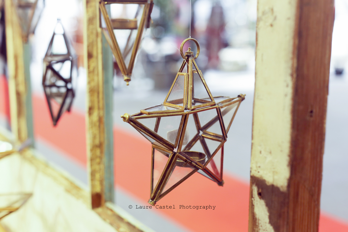 Photophore en verre et métal à suspendre forme étoile