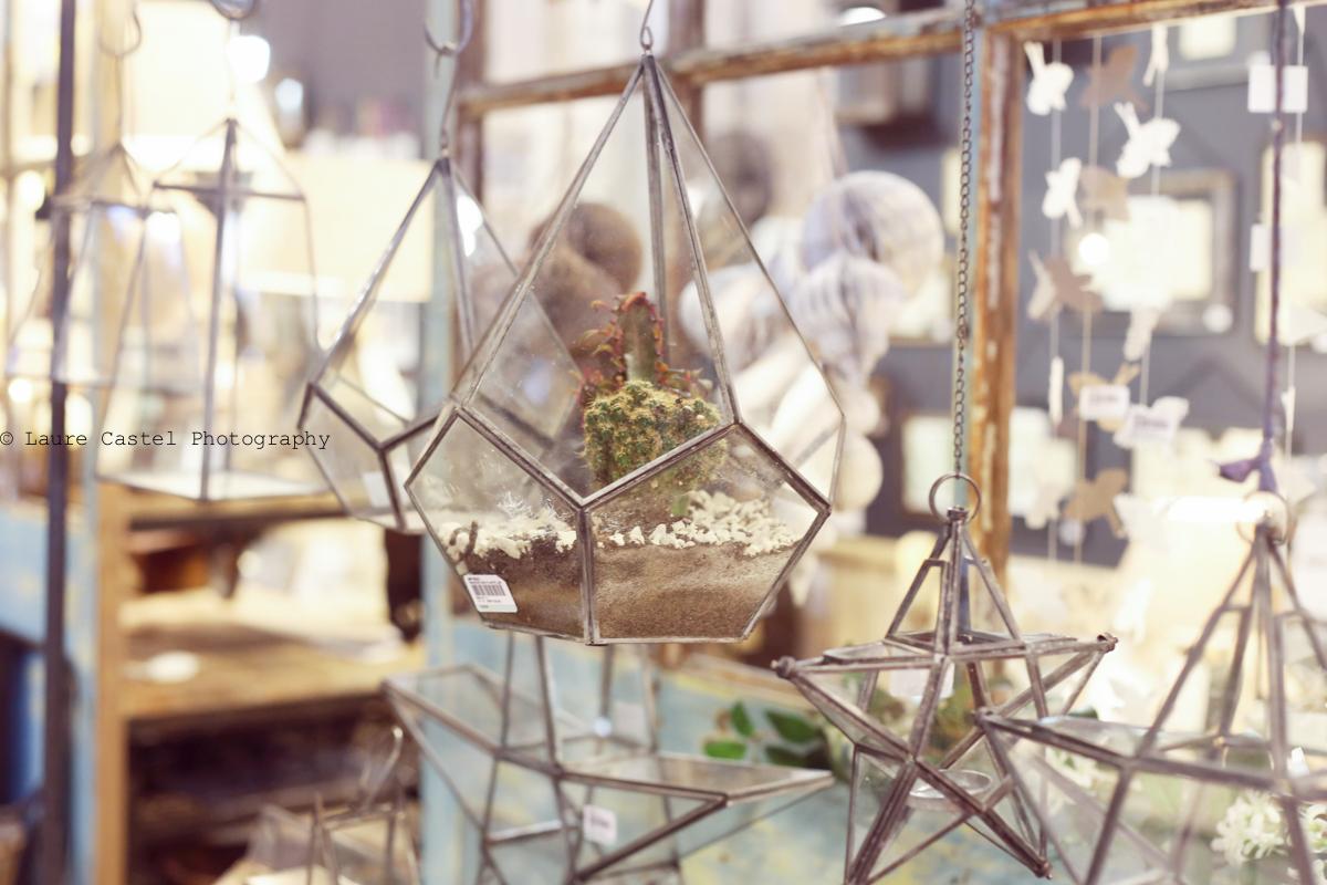Terrarium en verre géométrique à suspendre
