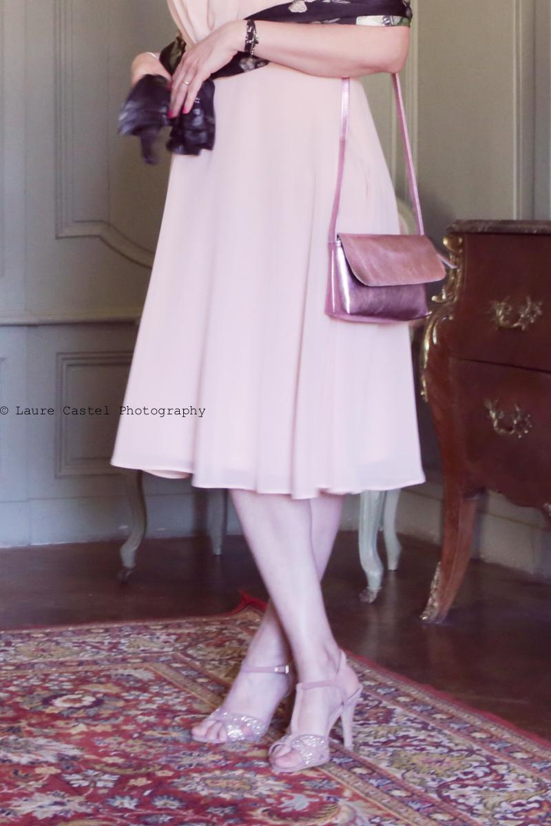 Robe romantique rose poudré mariage
