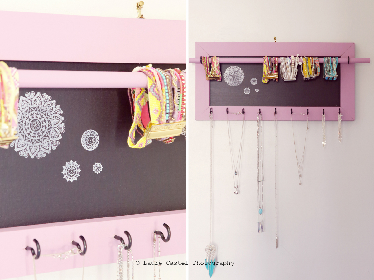 diy un porte collier mural d coratif les petits riens. Black Bedroom Furniture Sets. Home Design Ideas