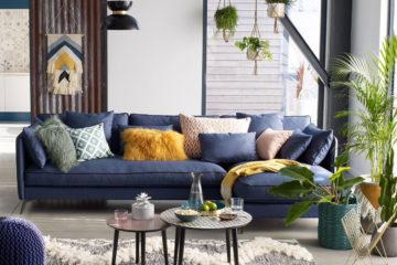 Décoration salon bleu et jaune | Les Petits Riens