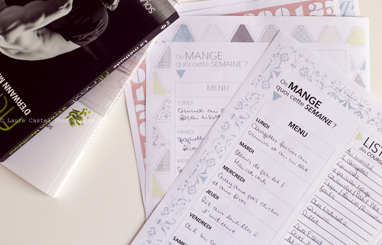Organisateur de menus à imprimer Les Petits Riens