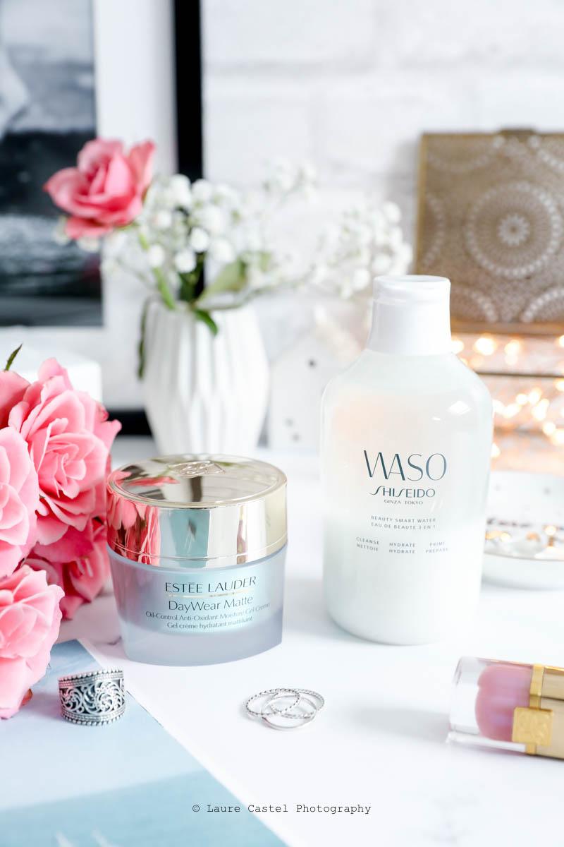 Routine Teint mat avec Estée Lauder DayWear Matte & la lotion Waso de Shiseido l Les Petits Riens